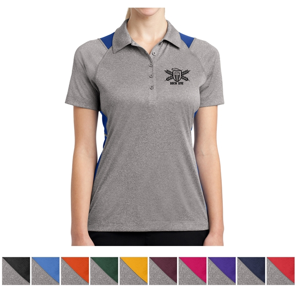 Sport-Tek Ladies' Heather Colorblock Contender Polo