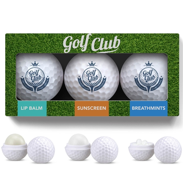 3 Pack Golf Ball Lip Balm, Mints & Sunsc
