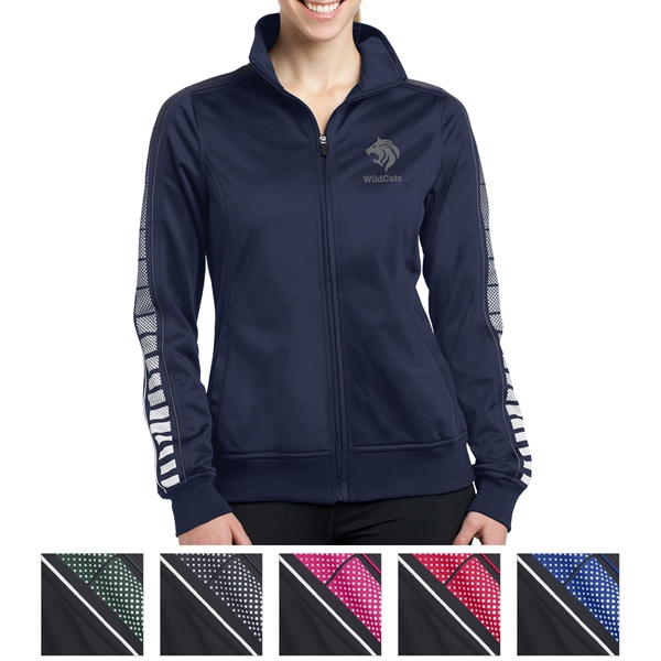 Sport-Tek Ladies' Dot Sublimation Tricot Track Jacket