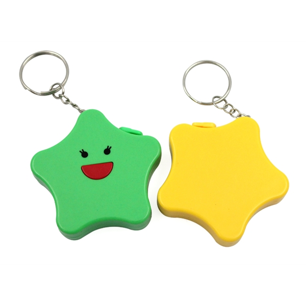 Colorful star shape solid color 1.5m plastic tape keychain