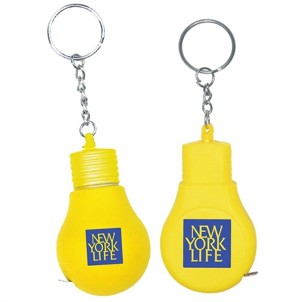 Light bulb shape tape measure key chain