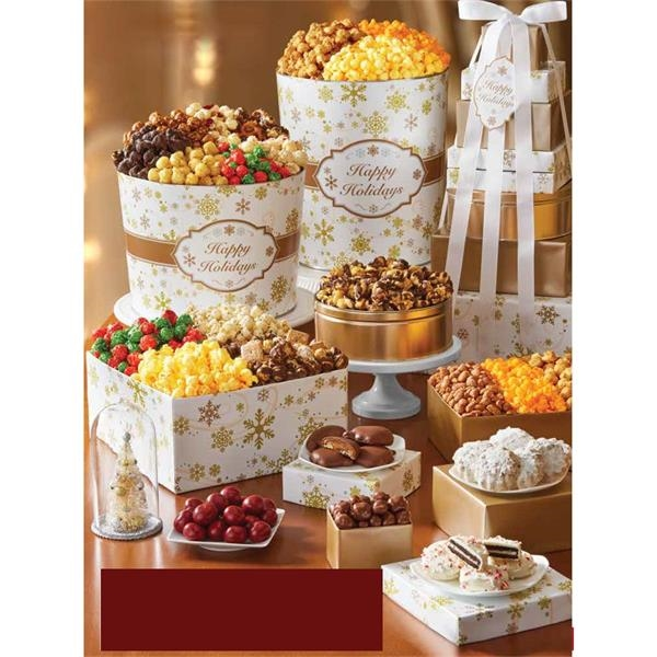 Gold Snowflake 8-Tier Tower & Popcorn Tins