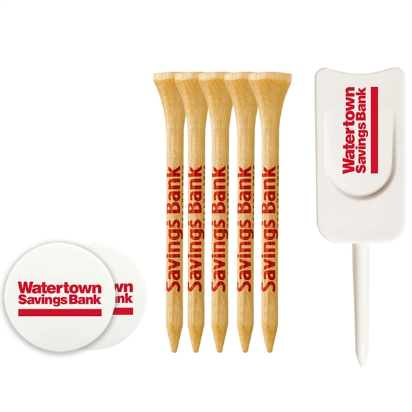 Tee Pack With Wood Tees, Ball Markers And Divot Tool
