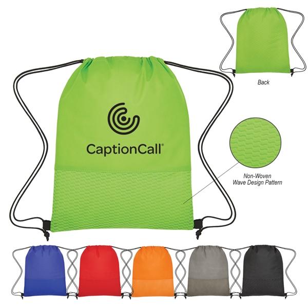 Non-Woven Wave Design Drawstring Bag