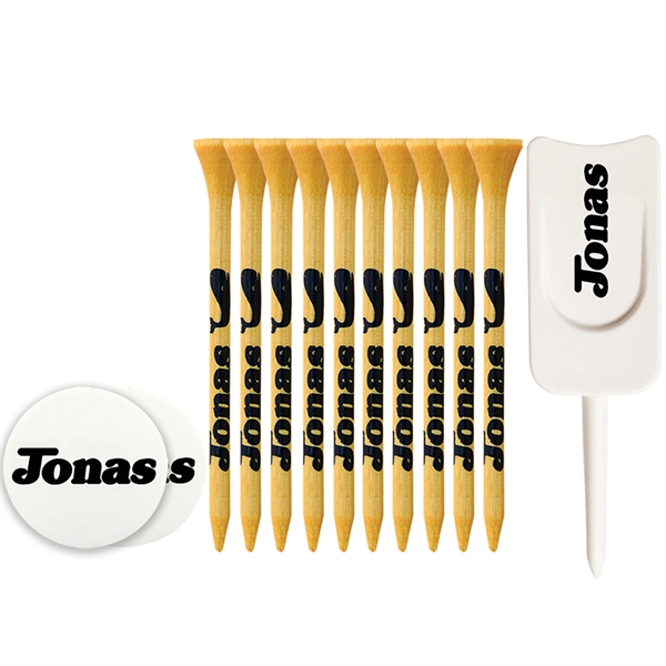 Tee Pack With Bamboo Tees, Ball Markers And Divot Tool
