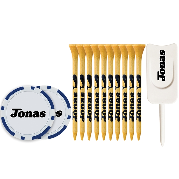 Tee Pack With Bamboo Tees, Poker Chips And Divot Tool