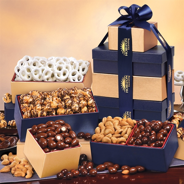 Navy & Gold Tower of Treats