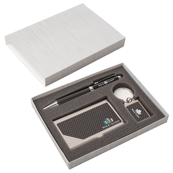 Carbon Fiber Pen, Business Card Case and
