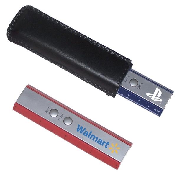 Slim ruler flashlight and laser pointer