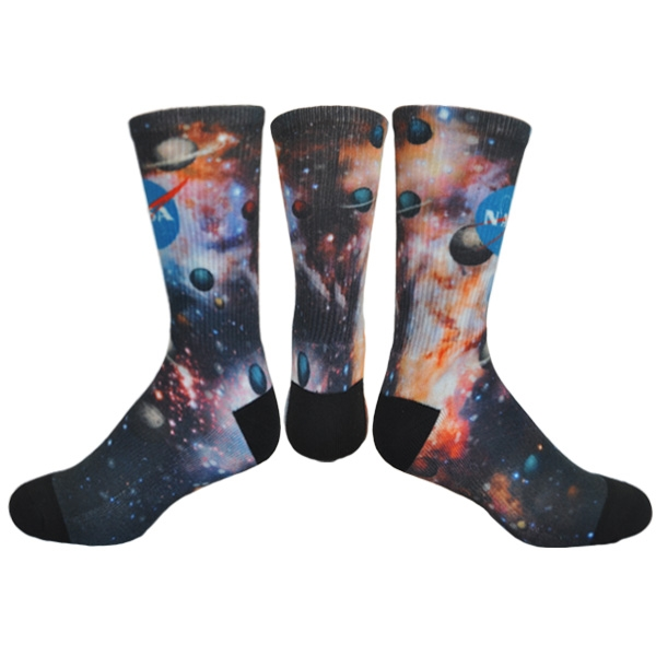 Athletic Crew Sock (Black Heel and Toe) with DTG Printing