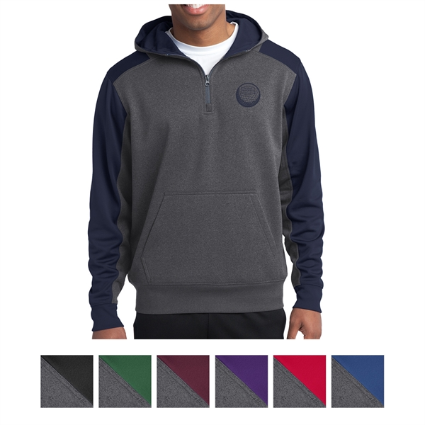 Sport-Tek Tech Fleece Colorblock 1/4-Zip Hooded Sweatshirt