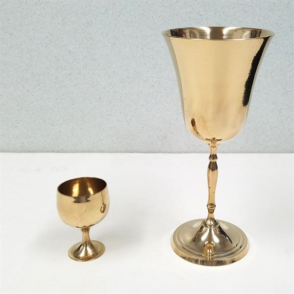 6 oz Solid Brass Wine Goblet