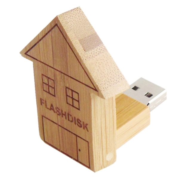 House Shape Wooden Flash Drive