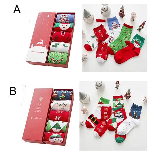 5 styles Per Gift Box Cotton Christmas Socks