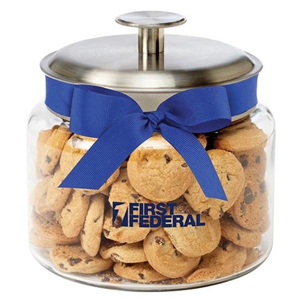 Glass Cookie Jar / Mini Chocolate Chip Cookies (1 lb 4 oz)