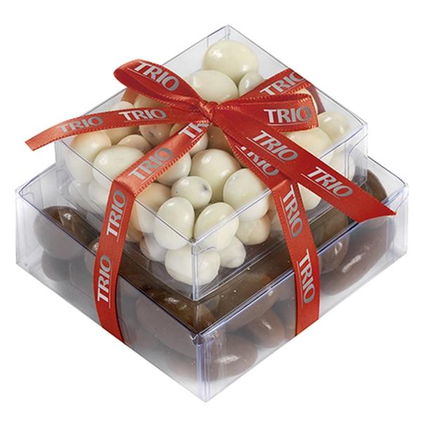 Stacked Present with Chocolate Covered Almonds/Yogurt Raisin