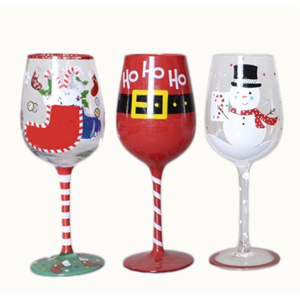 Christmas hand painted goblet