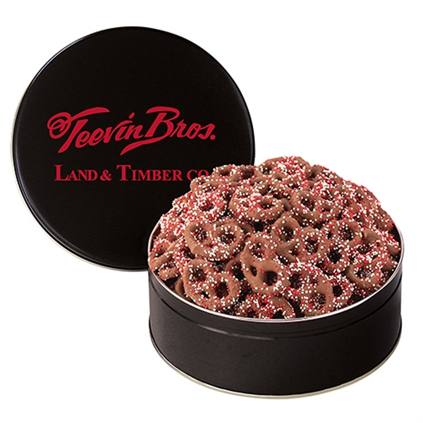 Corporate Color™ Chocolate Pretzel Tin - Medium