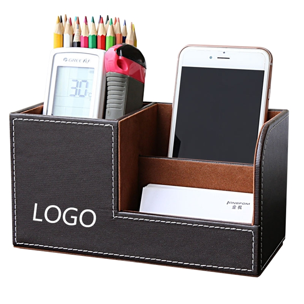Wooden Struction Leather Multi-function Desk Stationery