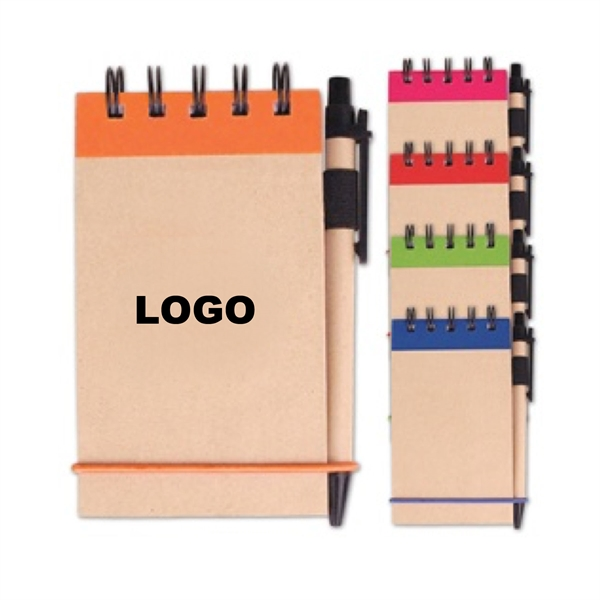 Elastic band closure spiral notebook with pen