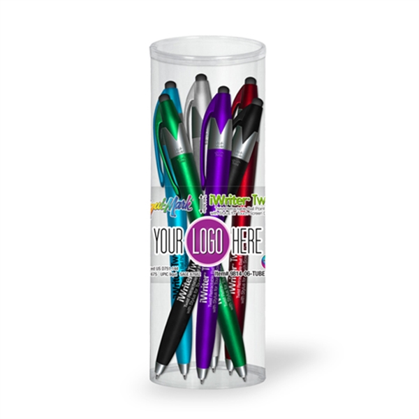 iWriter Twist Stylus Pen 6 Pk Tube Set with Full Color Decal