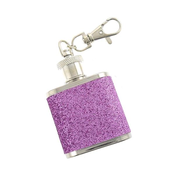 1 OZ Glitter Keychain Hip Flask