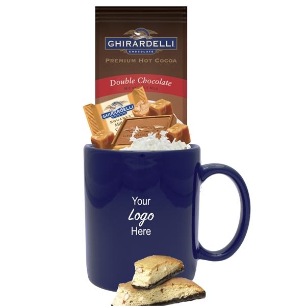 Kosher Cocoa, Chocolate & Cookie Gift Mug (Navy)