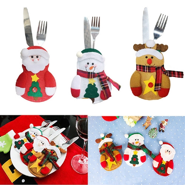 Christmas Snowman Knife And Fork Pocket