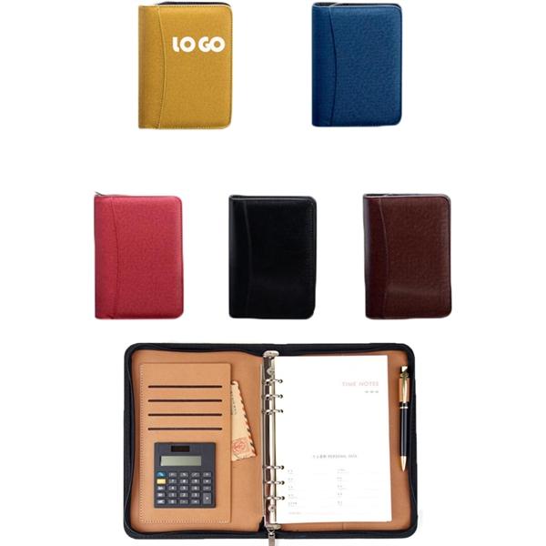 PU A5 Portfolio Zippered Notebook with  Calculator