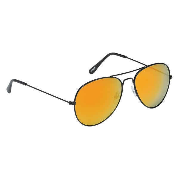 Black Frame Color Mirrored Aviator Sunglasses