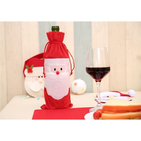 Christmas Wine Bottle Bag Red Wine Gift Covers with Drawstri