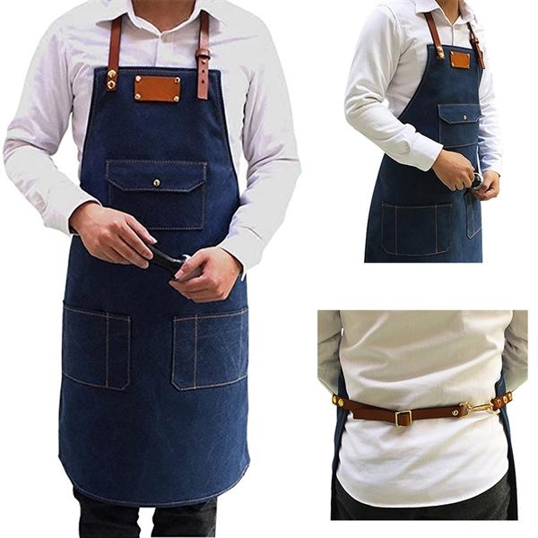 Durable Adjustable Denim Bib Apron with Pockets