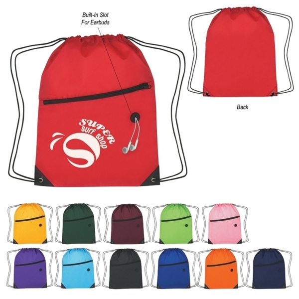 210D Polyester Drawstring Sport Backpack - with Front Zipper