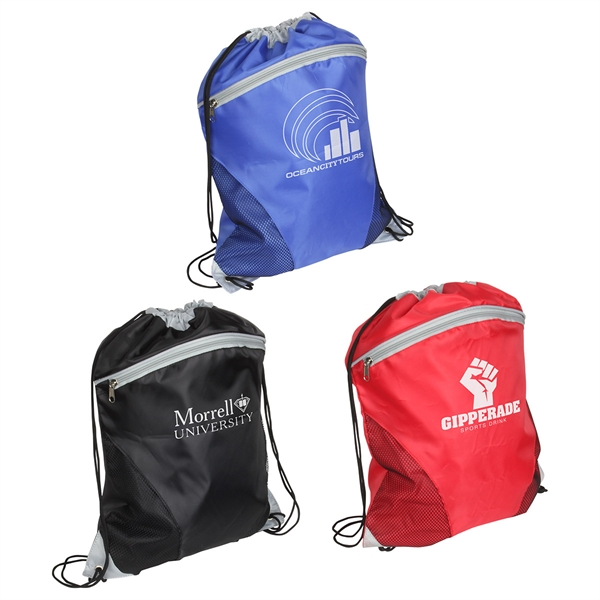 210D Polyester Drawstring Sports Bag with Front Zipper