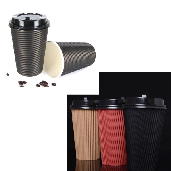 12oz. Double Wall Groove Cup w/Lid