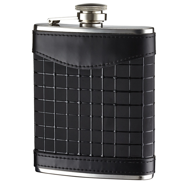 6 oz. 2 Tone Genuine Leather Wrapped Stainless Steel Flask