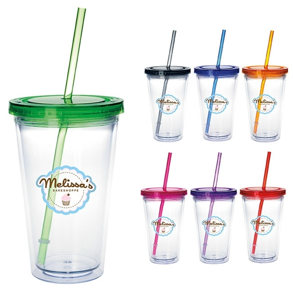 Clear Tumbler with Colored Lid - 18 oz