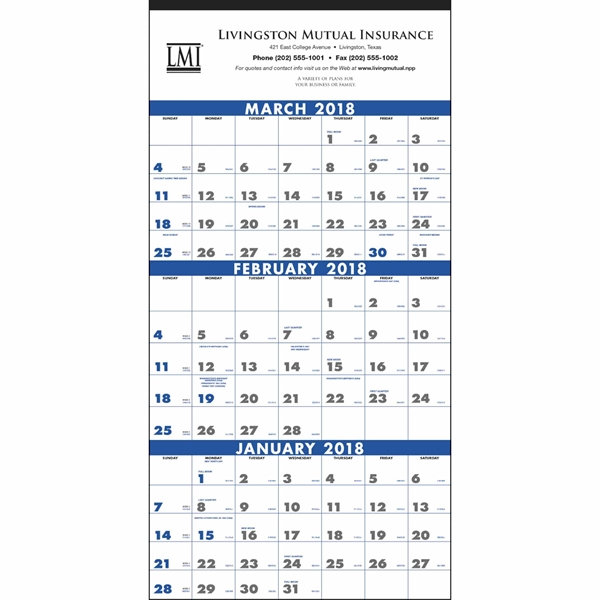 3-Month Planner 4-Sheet Calendar