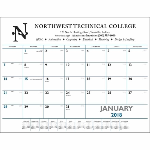 Blue & Black Desk Pad Calendar