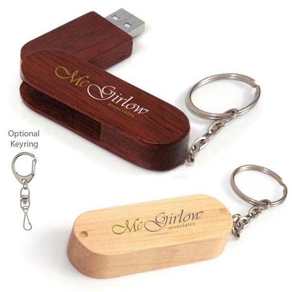 1 GB Bamboo Bullet Keyring USB 2.0 Flash Drive