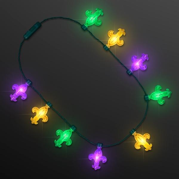 Fleur de Lis Big Bulb Lights, Mardi Gras Party Necklaces