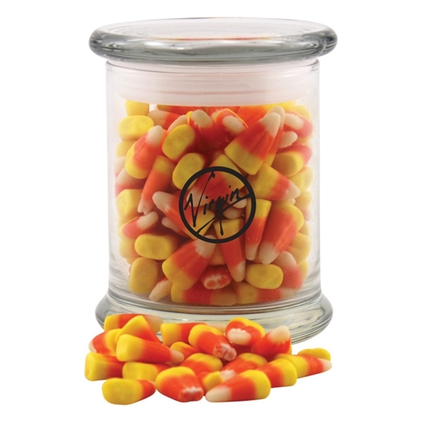 Candy Corn in a Large Round Glass Jar with Lid