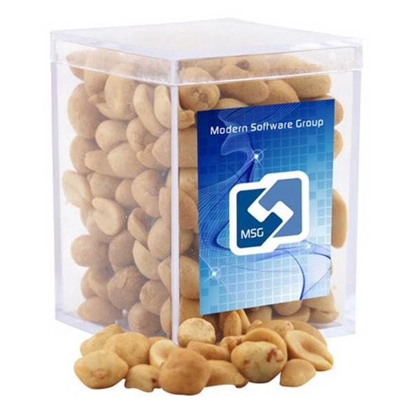 Peanuts in a Clear Acrylic Square Box