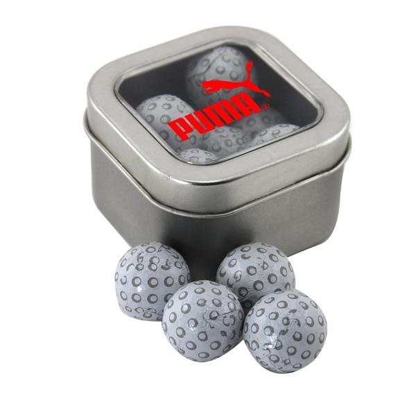 Tin with Window Lid and Chocolate Golf Balls
