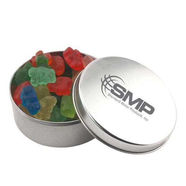 Large Round Metal Tin with Lid and Gummy Bears