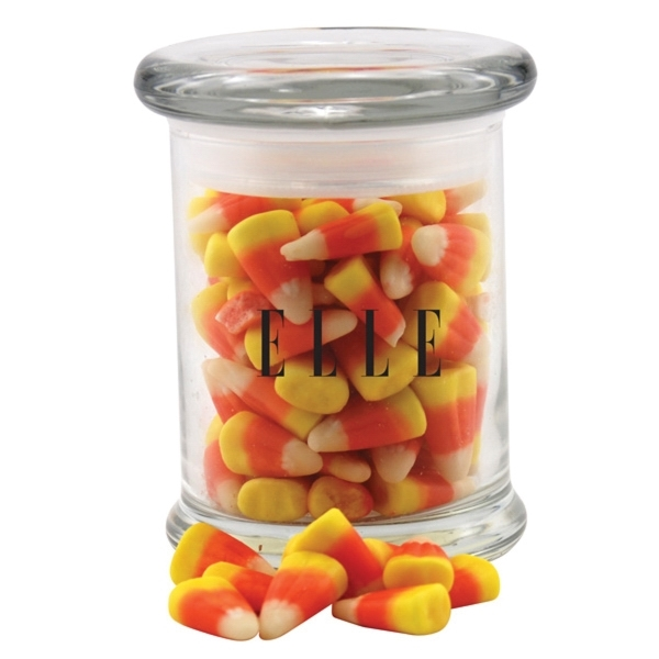 Candy Corn in a Round Glass Jar with Lid