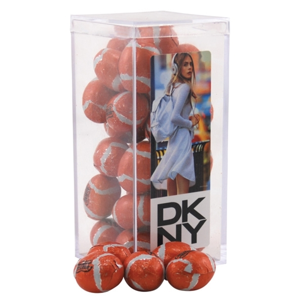 Chocolate Footballs in a Clear Acrylic Square Tall Box
