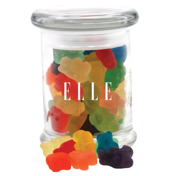 Gummy Bears in a Round Glass Jar with Lid