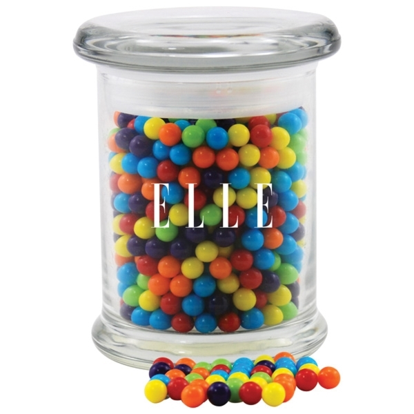 Mini Jawbreakers Candy in a Round Glass Jar with Lid