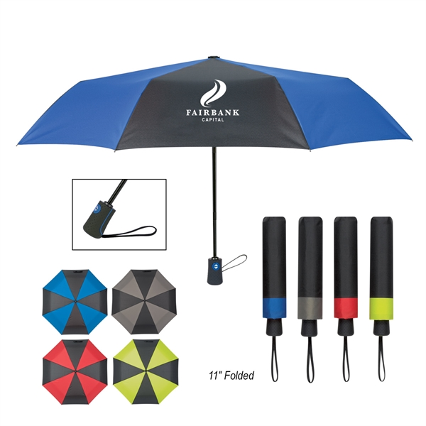 "43"" Arc Duet Colors Telescopic Folding Umbrella"